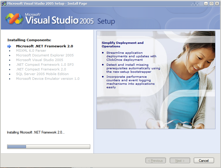 A screenshot of the Microsoft Visual Studio 2005 installer featuring a smiling Asian woman.