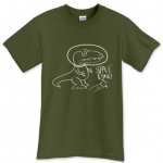 T-Shirt Space Dino White Print Front