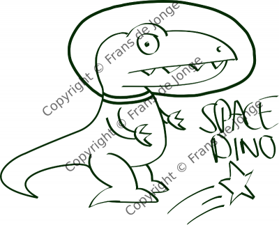 space dino very dark green with annoying copyright