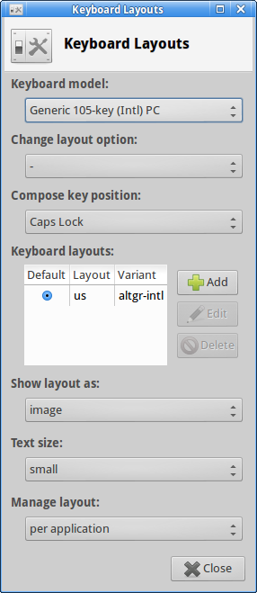 The Xfce Keyboard Layouts widget showing the option of which key to use as compose.