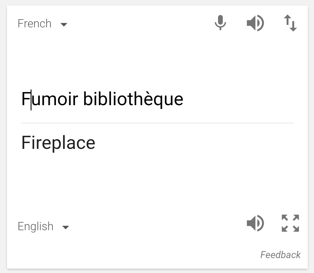 Fumoir bibliothèque (uppercase F) = fireplace